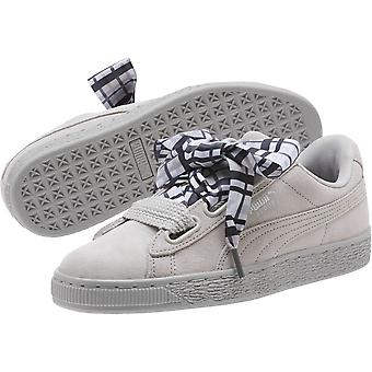 Bambini Puma Ragazze cuore plaid Suede Basso Top Pizzo Up