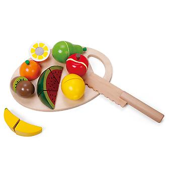 Classic World - Wooden Role Play Fruit Cutting Set with 7 Fruits, Chopping Board and Wooden Knife
