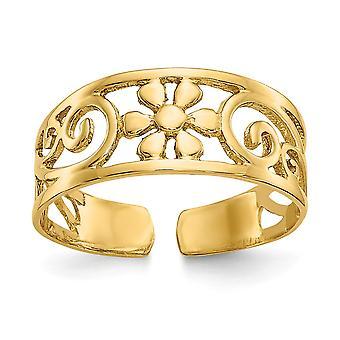 14k Jaune Or Poli Filigree Floral Toe Ring Bijoux Bijoux pour les femmes - 1,2 Grammes