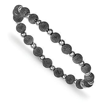 925 Sterling Silver Perlée Laser coupé Ruthenium placage Laser et Black Rhodium Bead Stretch Bracelet Bijoux Cadeaux pour W