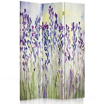 Divisor de habitación, 3 paneles, doble cara, 360o giratorio, lienzo, flores pintadas sobre un fondo blanco