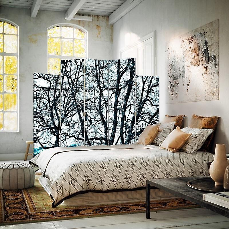 Diviseur de pièce décoratif, 5 panneaux, double-face, toile rotative de 360 , branches des arbres