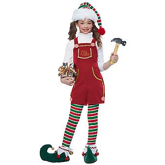 Toymaker Elf Santa Helper Christmas Festival Fancy Dress Up Girls Costume