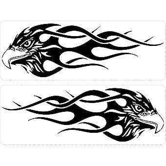 Set 2X Autocollant Sticker Macbook Laptop Voiture Moto Aigle Tribal Flamme Noir