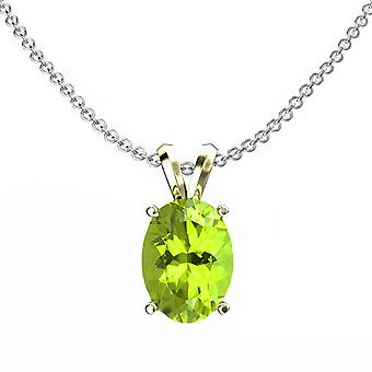 Dazzlingrock Collection 14K 9x7 mm Oval Cut Peridot Ladies Solitaire Pendant (Silver Chain Included), Yellow Gold