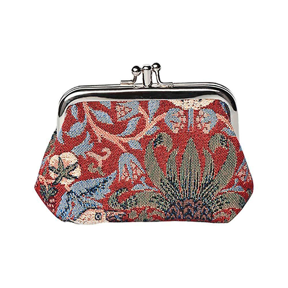 William morris - strawberry thief red coin purse by signare tapestry / frmp-strd