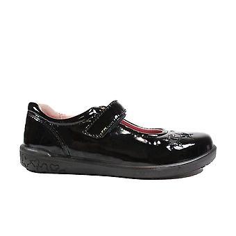 Ricosta Lyla 8626000-093 Black Patent Leather Girls Rip Tape Mary Jane School Shoes