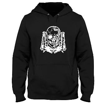 Black men's hoodie fun1668 gun and skull on