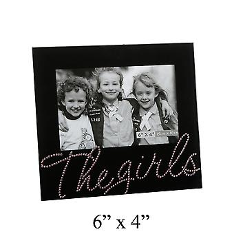 The Girls Photo Frame Black Glass and Pink Crystal