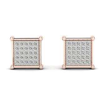 Boucles d'oreilles Igi certifiés 10k rose or 0,85 ct brillants boucles d'oreilles de goujon de grappe de diamant