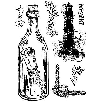 Woodware Polymer Stamp Message in a Bottle with Sentiments Clear Set of 7 | 10.5cm x 17.5cm