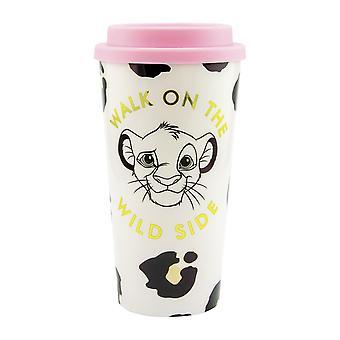 König der Löwen Travel Mug Reisebecher weiß/schwarz/rosa, 100 % Kunststoff, Fassungsvermögen ca. 450 ml.