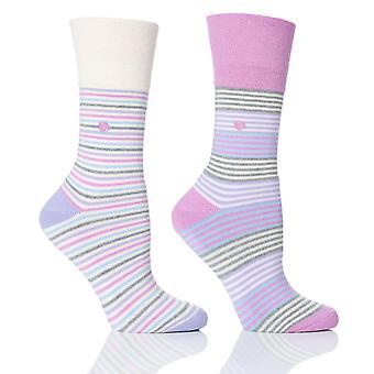 Womens Pink Stripe Cushion Foot Honeycombe Top Gentle Grip Sock By Sock Shop 2pk
