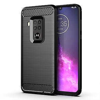 Motorola One Zoom TPU Case Carbon Fiber Optik Brushed Schutz Hülle Schwarz