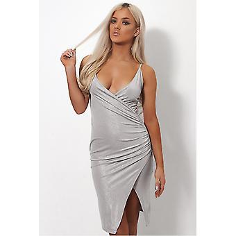 Shilo Silver Satin Slinky Bodycon Dress