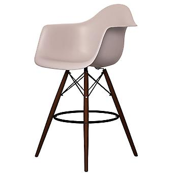 Charles Eames Style Light Grey Plastic Bar Stool With Arms - Walnut Legs