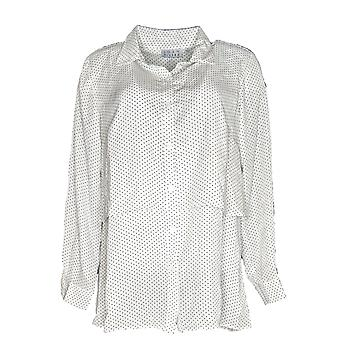 Joan Rivers Classics Collection Women's Top Pindot Button Frt White A301806
