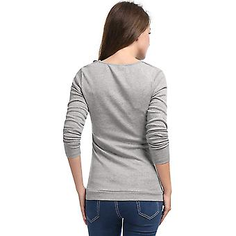 Allegra K Women's Cowl Neck Long Sleeves Buttons Decor Ruched Top XS Light Gray