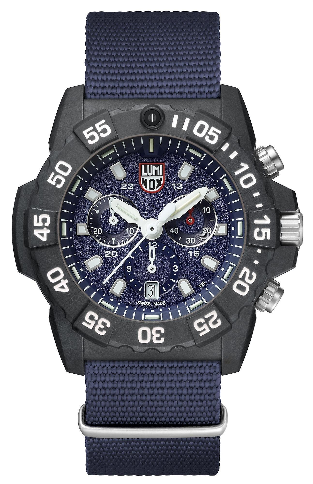Luninox Navy SEAL Chronograph 3580 Series Blue Canvas Strap Men's Watch XS.3583.ND