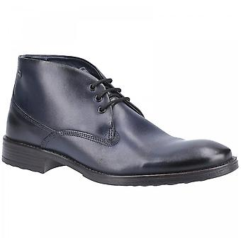 Base London Navy Leather Bramley Burnished Lace Up Ankle Boots
