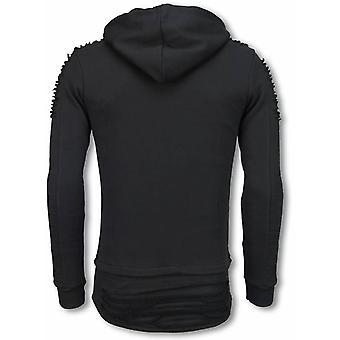 Ripped Shoulder - Long Fit Hoodie - Zwart
