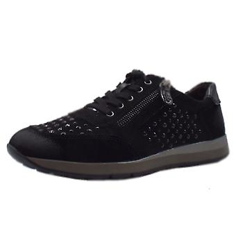 Jana 23612 Bargur Wide Fit Smart-casual Trainer Shoes In Black