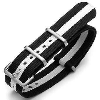 Strapcode n.a.t.o watch strap 20mm g10 nato james bond heavy nylon strap brushed buckle - j27 black-white-black