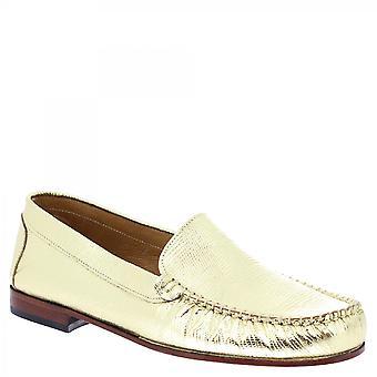 ليوناردو أحذية النساء & أبوس؛ق زلة اليدوية على أحذية المتسكعون الذهب مغلفة الجلود