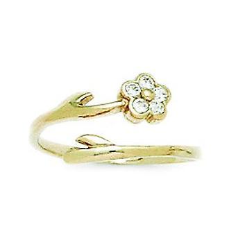 14k gult guld CZ Cubic Zirconia Simulerad Diamond Top justerbar blomma kropp smycken Tå Ring Smycken Gåvor för kvinnor