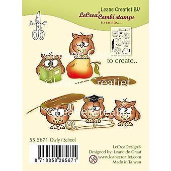 LeCrea - combi clear stamp Owly / School 55.5671 (01-19)