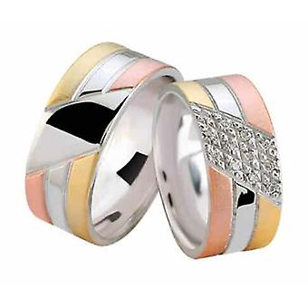 Trikolore Eheringe mit Diamanten