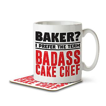 Baker? I Prefer the Term Badass Cake Chef - Mug and Coaster