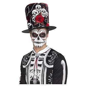 Día de los muertos Cráneo & Rosa Top Sombrero Halloween Fancy Dress Accessory