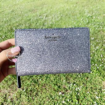 Kate spade joeley glitter medium bifold wallet dusk navy