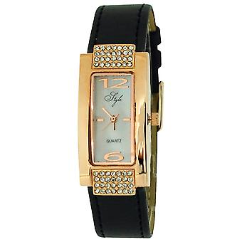Style Ladies Stone Set Rose Goldtone Bezel MOP Dial & Black PU Strap Watch NSS