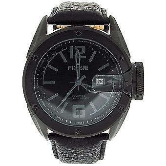 Fly53.02 Gents Analogue Padded Textured Black Leather Strap Sports-Casual Watch