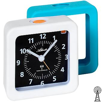 Atlanta 1852/0 alarm clock radio alarm clock analog white turquoise light Snooze