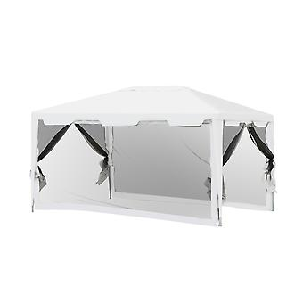 Outsunny 3 x 4m Party Tent Outdoor Gazebo Garden Canopy Party Wedding Shelter w/ Mesh Mosquito Netting (3 x 4m)