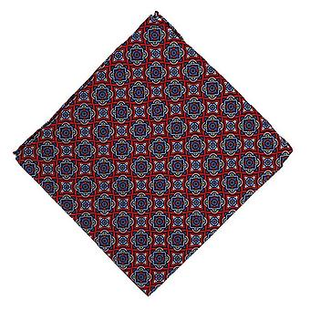 Michelsons of London Bold Medallion Silk Pocket Square - Red
