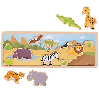 Bigjigs Toys Wooden Magnetic Picture Board (Safari) Storytelling Creative