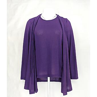 Serengeti Women's Top Open Front Attached Matching Inset Purple