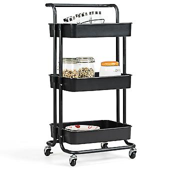3-Tier Storage Rolling Trolley Cart Storage Shelf Living RoomBathroom Kitchen UK