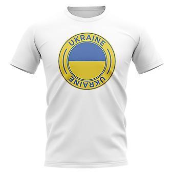 Ukraina Football Badge T-shirt (Vit)