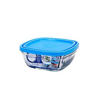 Duralex Freshbox Square Bowl with Blue Lid, 14cm