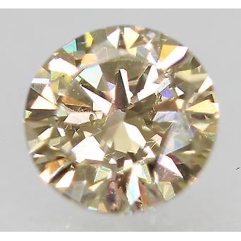 Cert 0.50 Carat Brown Yellow VS1 Round Brilliant Enhanced Natural Diamond 5.12mm