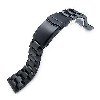 Strapcode watch bracelet 22mm hexad oyster 316l stainless steel watch band straight lug, v-clasp, pvd black