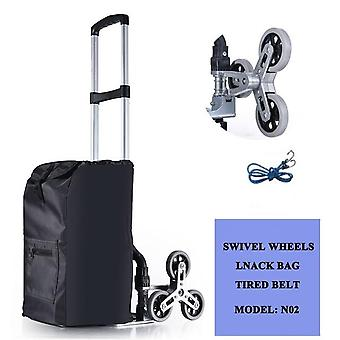 All Terrain Stair Climbing Hand Truck With Bungee Cord - Portable Folding Trolley For Upstairs Cargo