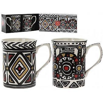 Tribal Mugs (Set Of 2)