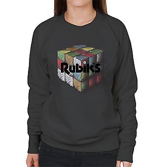 Rubiks färgglada ritade kub Women ' s Sweatshirt