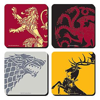 Game Of Thrones Coaster 4 pack Set House Sigils official in presentation box
